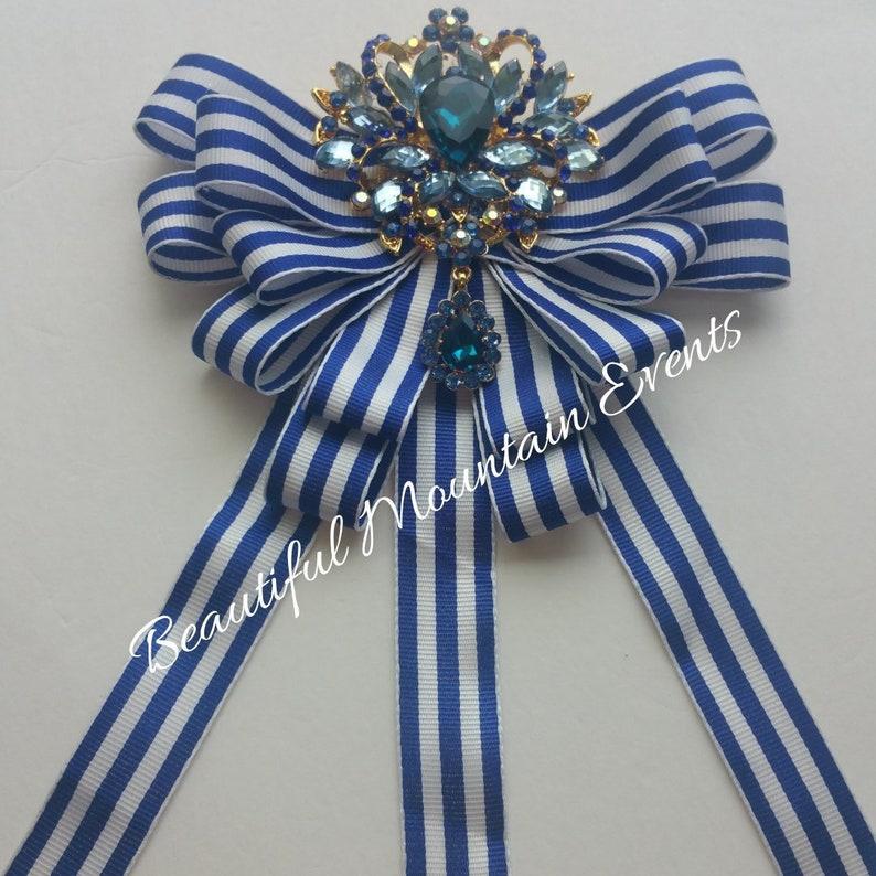 Royal blue stripe grosgrain Custom Handmade Luxury Ribbon Brooch for collar or bust