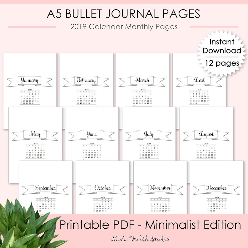 graphic about Bullet Journal Monthly Calendar Printable titled Bullet Magazine Printables Thirty day period at a Appear, Minimalist Version 2019 Calendar Regular Webpages, BUJO Printable Planner Binder Web pages A5