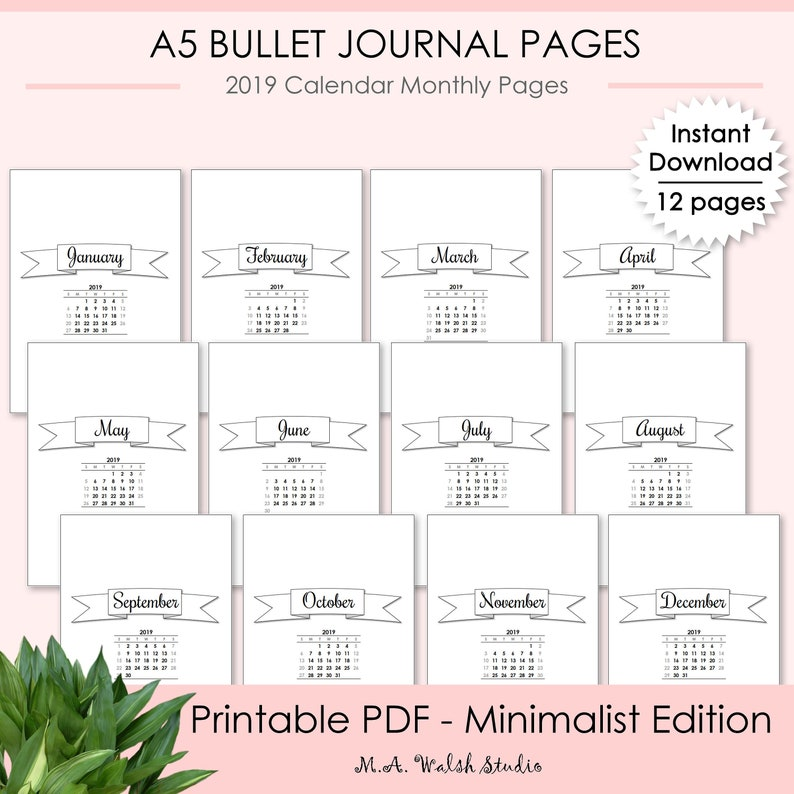 image regarding Bullet Journal Monthly Calendar Printable titled Bullet Magazine Printables Thirty day period at a Seem, Minimalist Version 2019 Calendar Regular monthly Webpages, BUJO Printable Planner Binder Internet pages A5