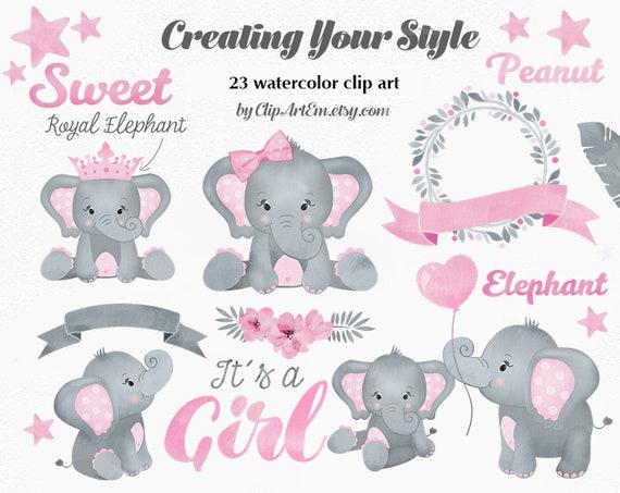 Baby Elephant Girl Clip Art Cute Little Girl Peanut In -9298