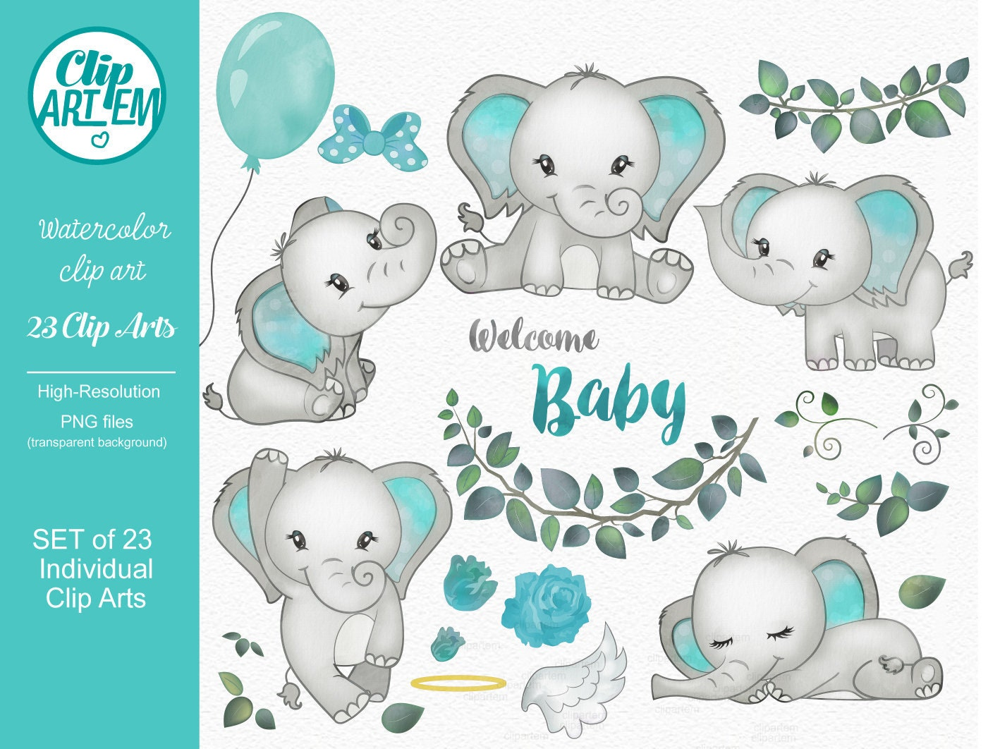 Turquoise Elephant clip art watercolor. Baby Elephant | Etsy