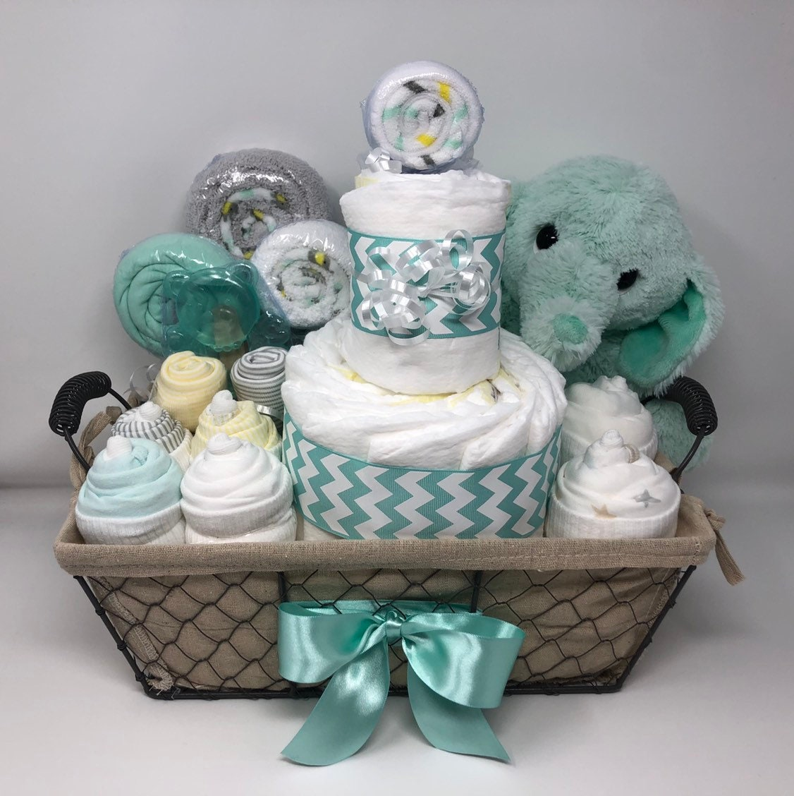 Mint Gender Neutral baby Elephant gift basket welcome baby ...