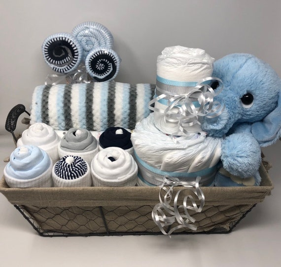 fe3ad05a6a4a Navy Blue Baby boy gift basket welcome baby gift basket new