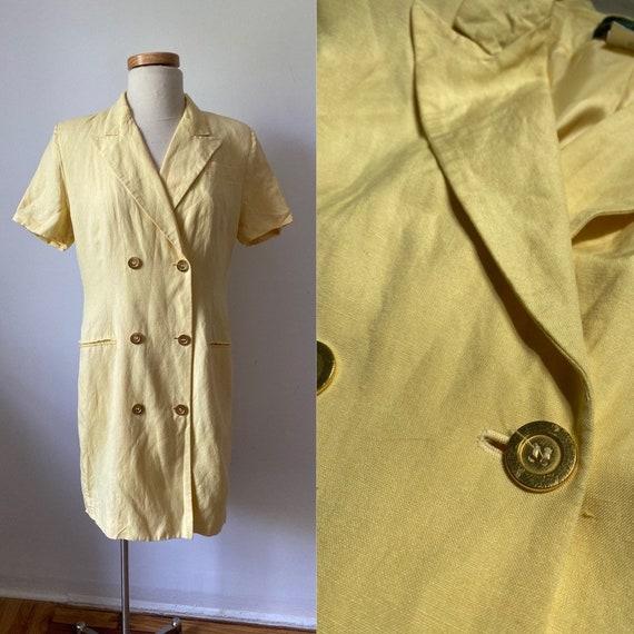 Yellow Linen Blazer Dress
