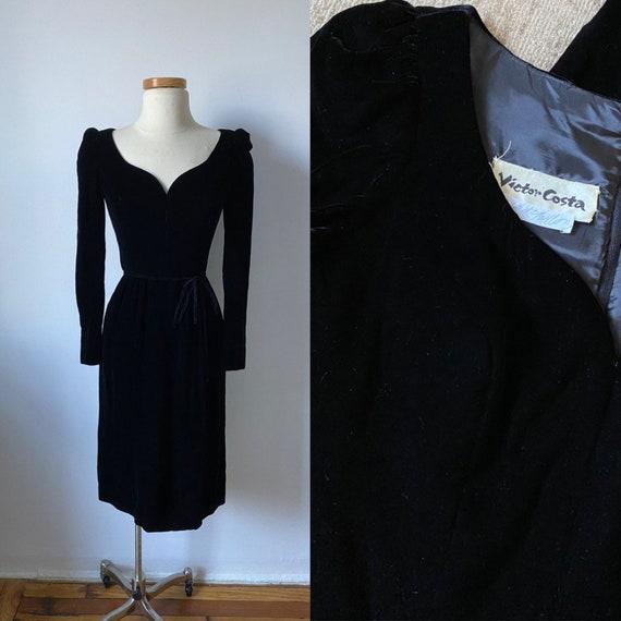 70s Victor Costa Velvet Dress