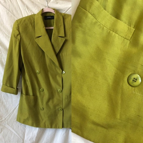 Chartreuse silk jacket