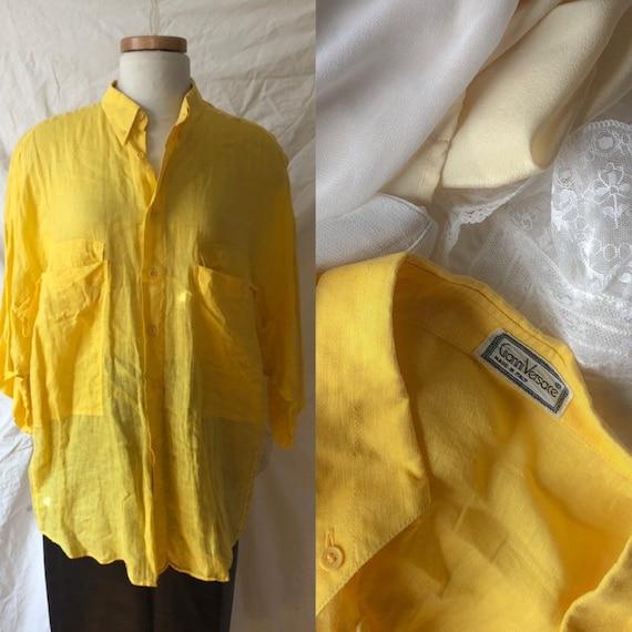 versace linen blouse