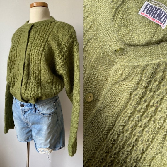olive mohair cardigan