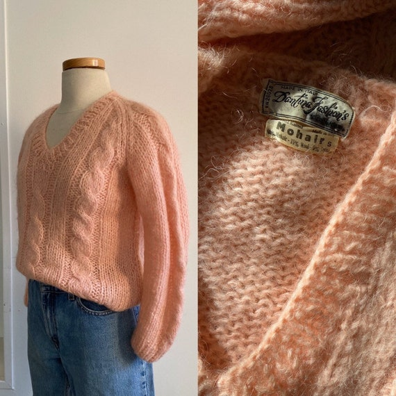 Cotton Candy Mohair Cable knit