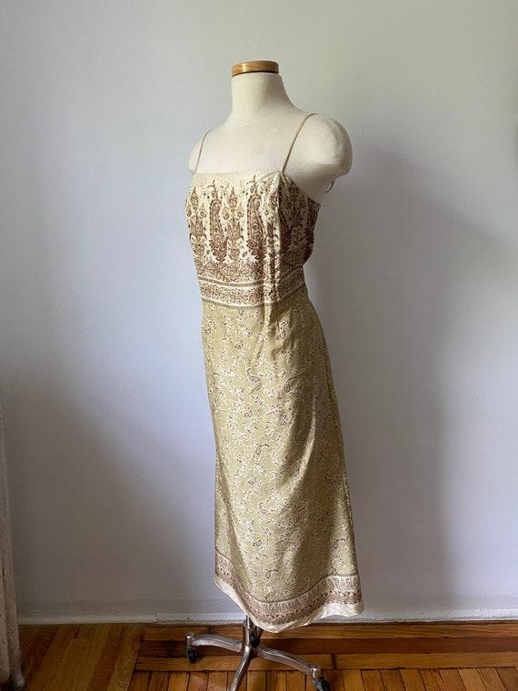 90s silk paisley dress - image 2