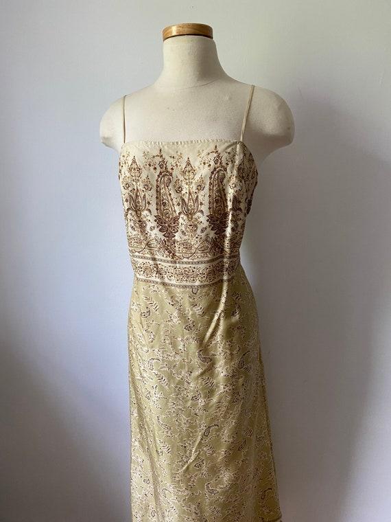 90s silk paisley dress - image 4