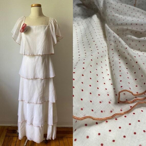 80s tiered polka dot dress