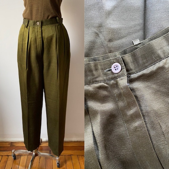 olive green silk trousers