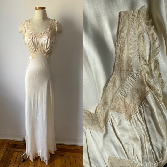 1930s Ivory Bias Cut Dress