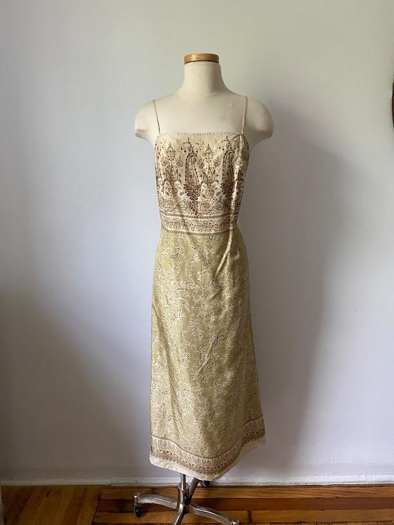 90s silk paisley dress - image 3