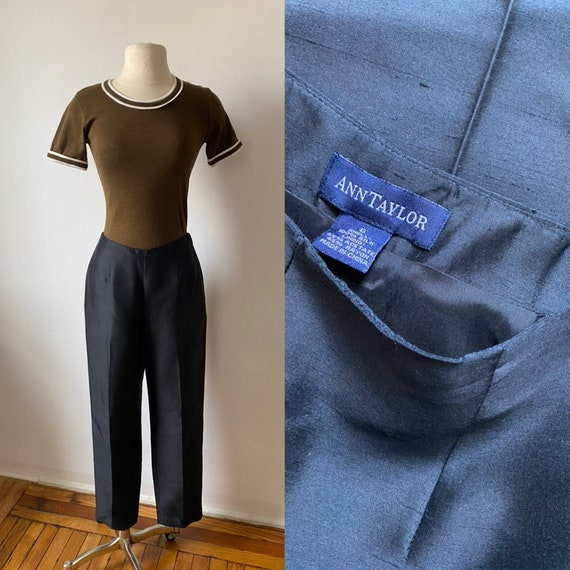 onyx silk trousers - image 1