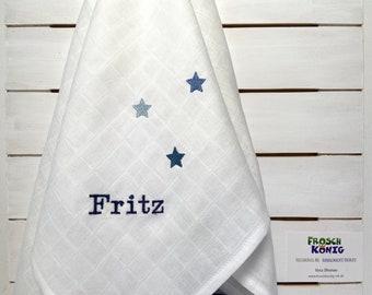 Spucktuch * Schmusetuch * Musselintuch * bestickt mit Namen und 3 Sternen in blautönen * ca. 60 x 60 cm