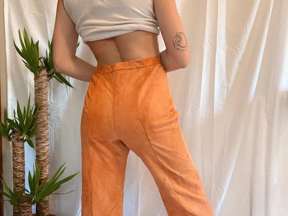 70s Vintage Peach Suede Flares