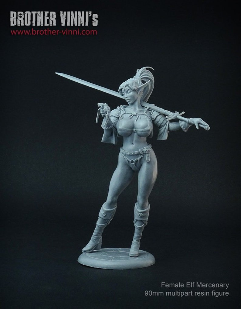 Female Elf Mercenary 90 mm multipart figure, Anime Figure, Resin Kit,  Garage Kit, Scale Model Kit