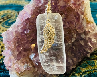 Danburite /& Angelite Crystal Vial Pendant Wrapped in .925 Sterling Silver ~ Spiritual Aura Seraphinite Powerful Angels Light Azeztulite