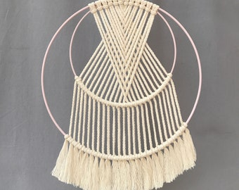 "Wall hanger ""Samara"" with pastel-coloured rings of 20&30 cm - wall hanger - summer feeling - boho - pastel colors - pink"