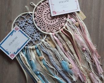 """Dreamcatcher with Name - Gift for Birth or Baptism - """"HeyBoy"""" & """"HeyGirl"""""""