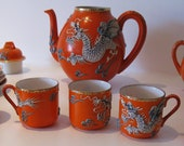 Japan-Satsuma porcelain tea service from the 19th. Orange