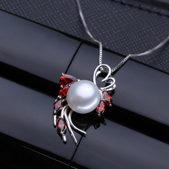 CS-DB Jewelry Silver Ruby Pearl Chain Charm Pendants Necklaces