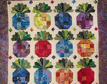 PINEAPPLES QUILT Pattern – Fat Quarter Quilt Pattern, Throw, Queen and Table Topper Pattern, Fat Quarter Friendly, Squares Quilt Pattern