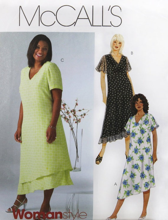 WOMENS DRESS Sewing Pattern – McCalls 4397, Size 26-32, Plus Size Sewing  Pattern, Lined Dress, V-Neck, Loose Fit, Asymmetrical Hem Pattern