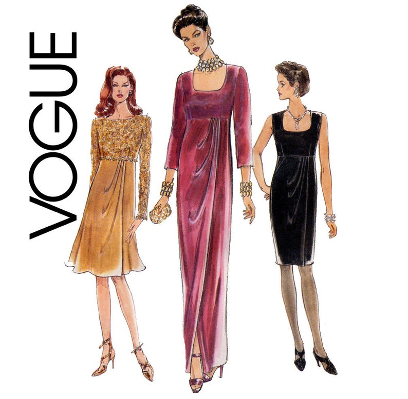 FORMAL EVENING DRESS Sewing Pattern – Vogue 9365, Size 18-22, Plus Size  Pattern, Empire Waist, Wedding Special Occasion Dress Sewing Pattern