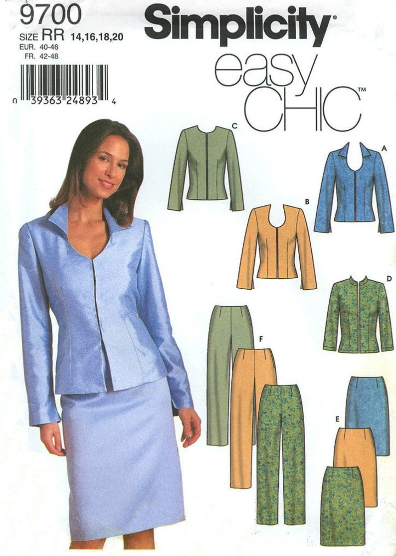 DRESS SUIT Sewing Pattern – Simplicity 9700, Size 14-20, Plus Size Sewing  Pattern, Pencil Skirt, Straight Pants Pattern, Easy Sewing Pattern
