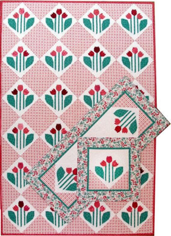 Quilten Paper Piecing.Tulip Parfait Quilt Pattern Paper Piecing Quilt Pattern Garden Flowers Quilt Pattern Pillow Table Topper Pattern Throw Quilt Pattern