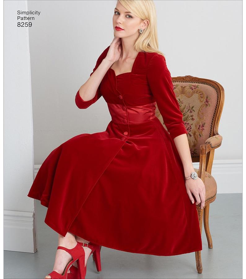 Simplicity 8259 Sweetheart Neckline Dress Pattern 1950s Mid Century Style Dress RETRO STYLE DRESS Sewing Pattern Dress Sewing Pattern