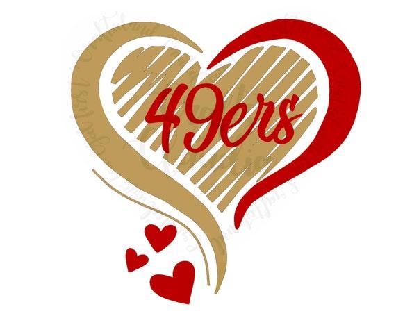 49ers Heart Pattern Svg Etsy