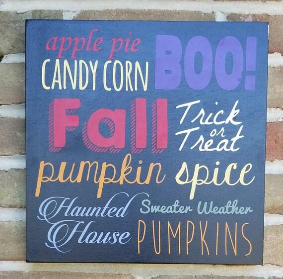 Automne automne récolte des citrouilles d'halloween Haunted house panneau de bois