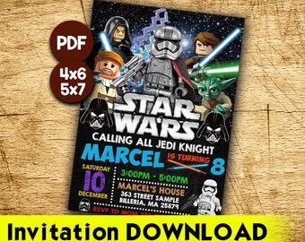 Lego Star Wars Invitation Etsy