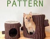 PATTERN Mini Mega Tree Stump Crochet Pet Cave Hide House Bed Pattern for Hedgehog Rat Ferret Guinea Pig Cat Small Dog