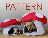 PATTERN Mini Mega Mushroom Crochet Pet Cave Hide House Bed Pattern for Hedgehog Rat Ferret Guinea Pig Cat Small Dog