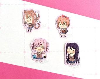 "2"" Vinyl Sticker - DDLC Doki Doki Literature Club || Monika + Sayori + Yuri + Natsuki Crayon Style Waterproof Vinyl Stickers Laptop Decal"