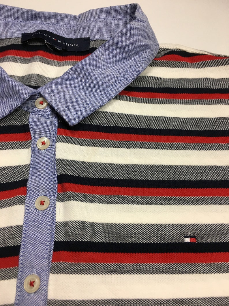 Vintage Women/'s Tommy Hilfiger Stripped Collared Polo Shirt