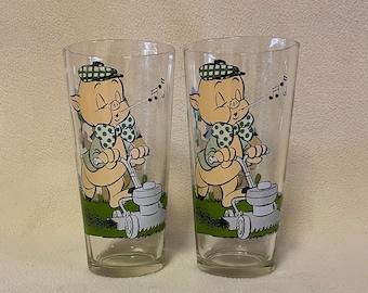 Petunia Pig Porky Pig 1976 Pepsi Looney Toons Collector Series glass