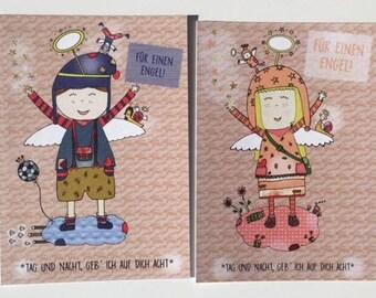 4 guardian angel postcards