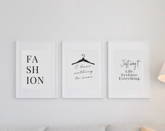 Dressing Room Prints Beauty Print Salon Wall Art Quote Word Art Typography Set 2