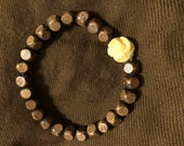 Wood Beaded Bracelet with Japanese Ojime Style Accent Bead for men