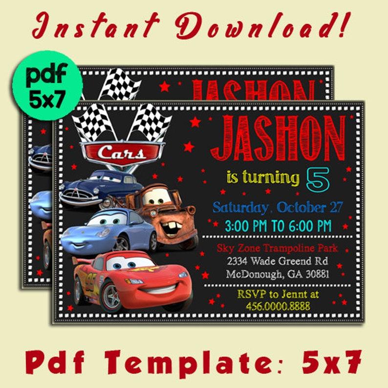 Disney Cars Birthday Invitation Lightning McQueen Editable