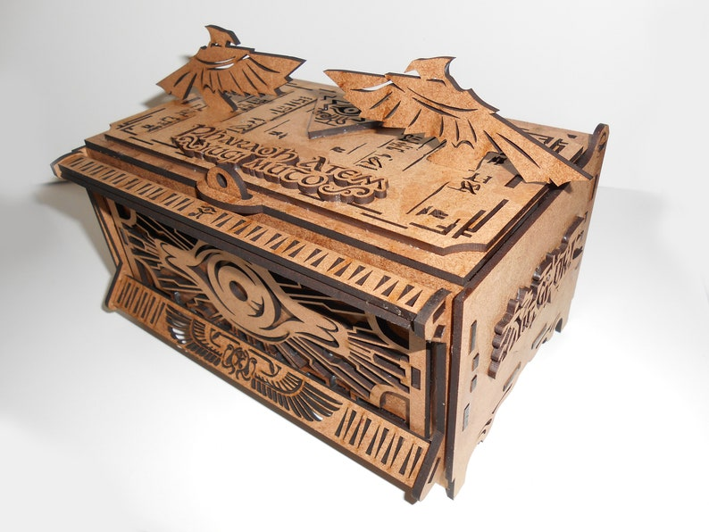 Yugioh Millennium Puzzle Gold Sarcophagus MDF Wood 3mm DeckBox Ancient  Egypt Vintage