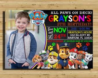 Paw Patrol Invitation Boy Birthday With Photo