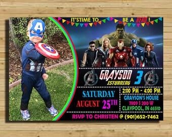 Avengers Birthday Invitation Party Superhero Boy