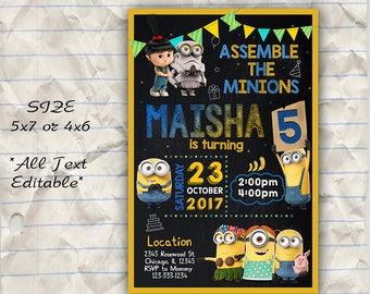 minion photo invitation printable minion birthday invitation etsy